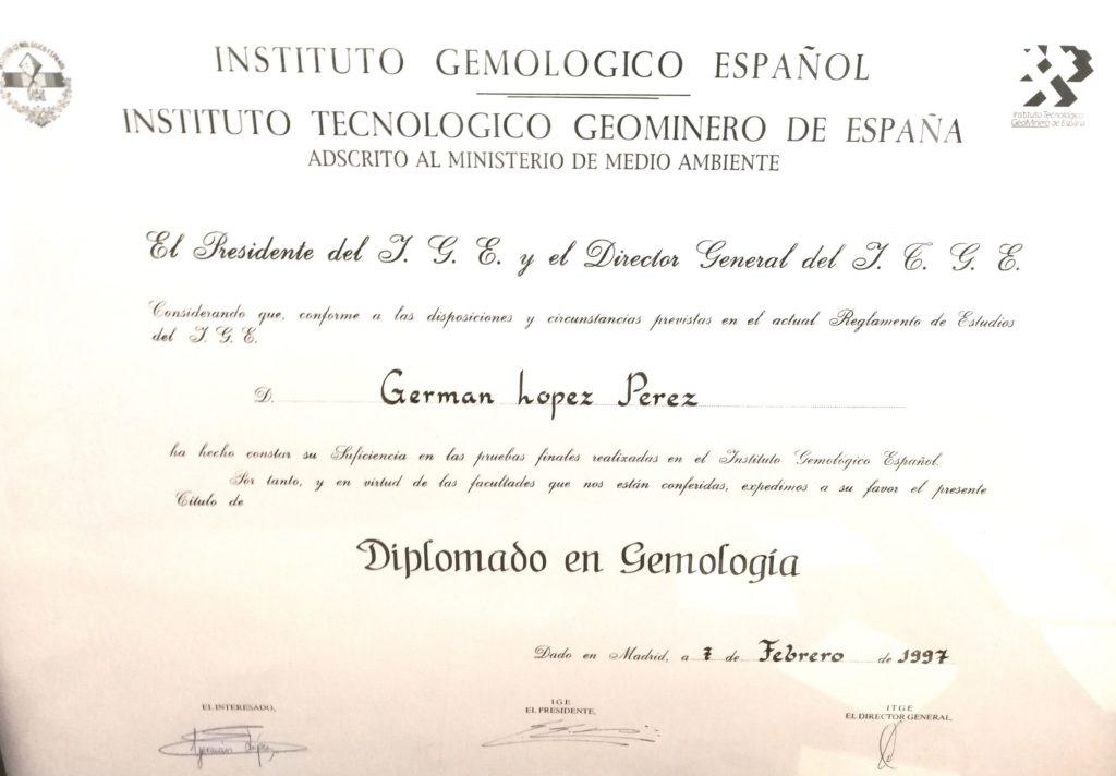 Germán López. Diploma Instituto Gemológico Español