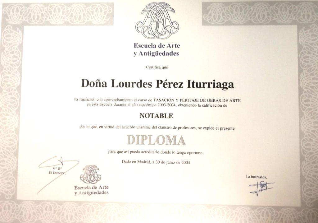 Lourdes Pérez. Diploma Escuela de Arte y Antigüedades