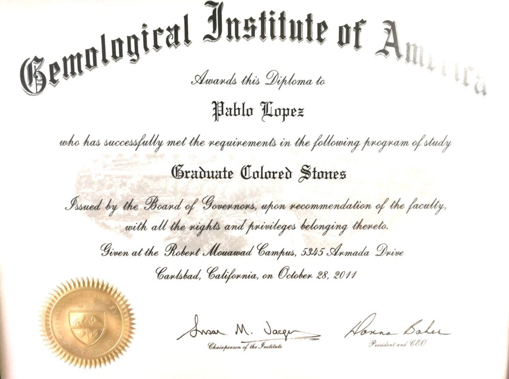 Pablo López. Diploma Gemological Institute of America