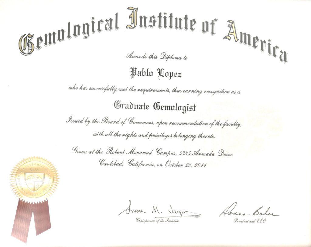 Pablo López. Diploma Gemological Institute of America