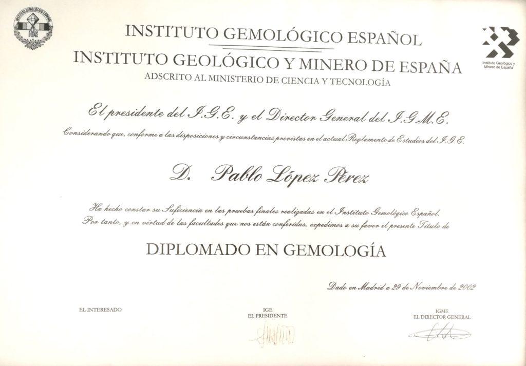 Pablo López. Diploma Instituto Gemológico Español